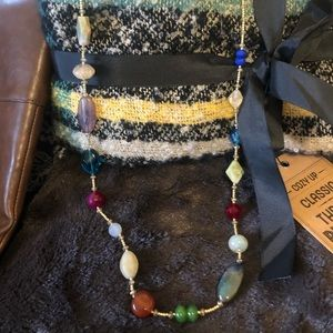 Gemstone gold beaded necklace